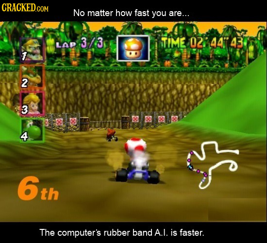No matter how fast you are... 3/3 STIME 0244743 Lap 2 3 4 6th The computer's rubber band A.I. is faster.