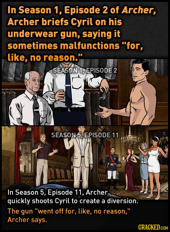 In Season 1, Episode 2 of Archer, Archer briefs Cyril on his underwear gun, saying it sometimes malfunctions for, like, no reason. SEASON 1 EPISODE
