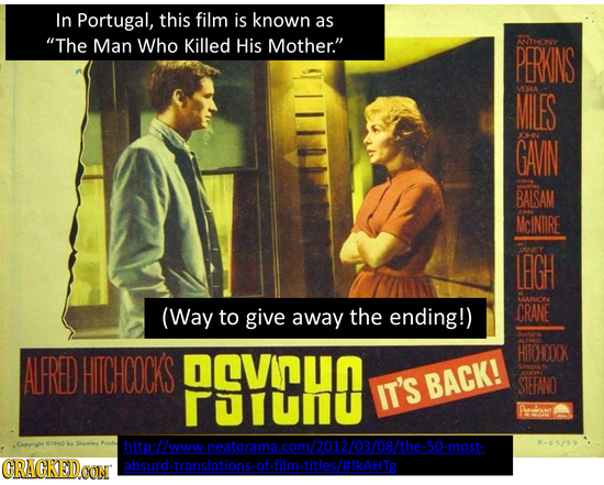 In Portugal, this film is known as The Man Who Killed His Mother. ANTHONY PERKINS MILES 9A GAVIN 0e BAISAM McINTIRE LEGH ANEY ARN (Way to give CRANE