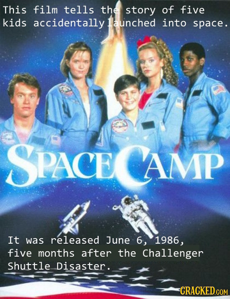 This film tells the story of five kids accidentally launched into space. SPACE PACE AMP It was released June 6, 1986, five months after the Challenger