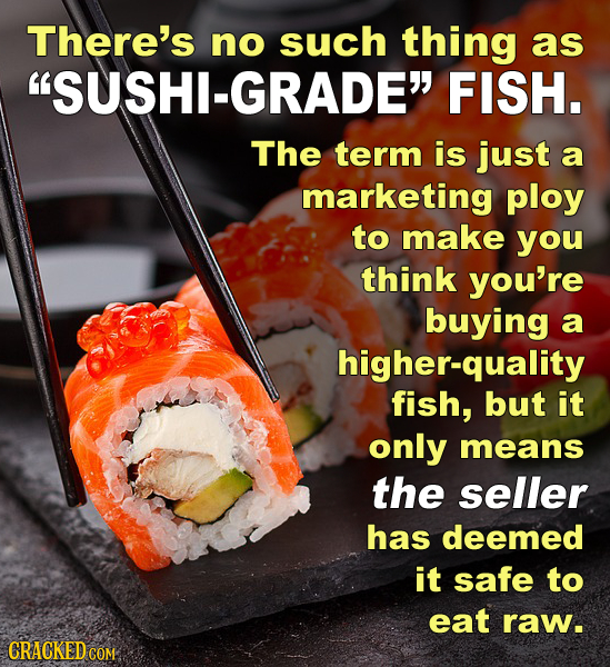 There's no such thing as SUSHI-GRADE FISH. The term is just a marketing ploy to make you think you're buying a higher-quality fish, but it only mean