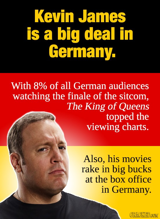 Kevin James is a big deal in Germany. With 8% of all German audiences watching the finale of the sitcom, The King of Queens topped the viewing charts.