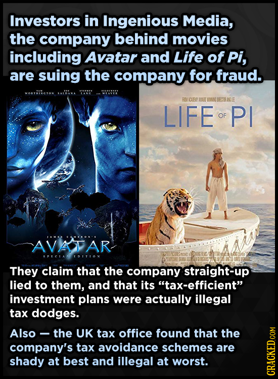 Investors in Ingenious Media, the company behind movies including Avatar and Life of Pi, are suing the company for fraud. MORTMINGTON A'ANA RO/RAAR DA