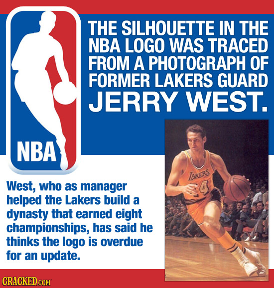 THE SILHOUETTE IN THE NBA LOGO WAS TRACED FROM A PHOTOGRAPH OF FORMER LAKERS GUARD JERRY WEST. NBA TAKERS West, who as manager 4 helped the Lakers bui