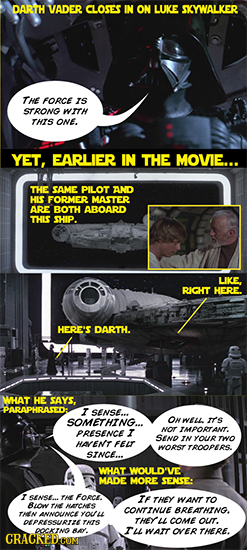 DARTH VADER CLOSES IN ON LUKE SKYWALKER THE FORCE IS STRONG WIH rhs ONE. YET, EARLIER IN THE MOVIE... THE SAME PILOT AND HIS FORMER MASTER ARE BOTH AB