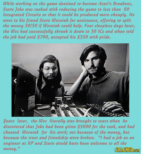 While working on the game destined to become Atari's Breakout, Steve Jobs was tasked with reducing the game to less than 80 Integrated Circuits so tha
