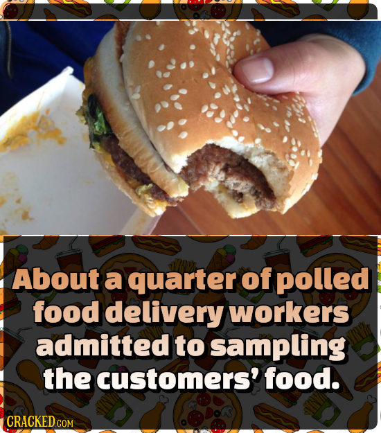 About a quarter of polled food delivery workers admitted to sampling the customers' food.