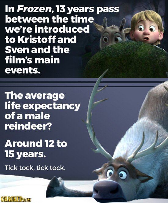 In Frozen, 13 years pass between the time we're introduced to Kristoff and Sven and the film's main events. The average life expectancy of a male rein