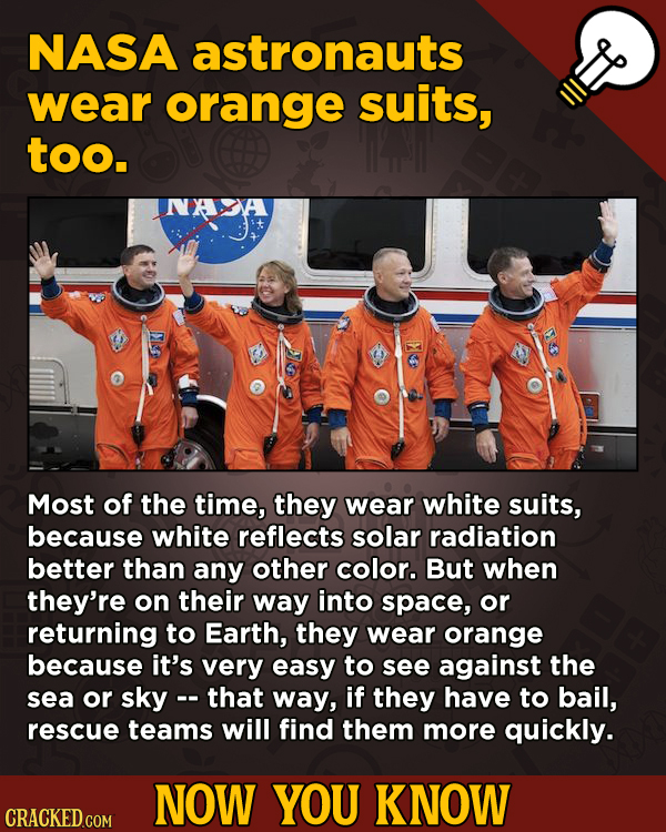 13 Movie-Related And Other Facts You Had No Clue About --NASA astronauts wear orange suits, too. Most of the time,