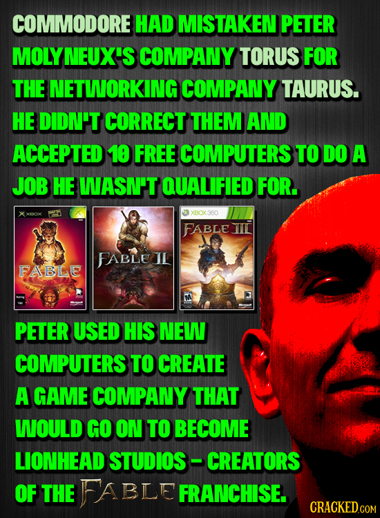 COMMODORE HAD MISTAKEN PETER MOLY NEUX'S COMPANY TORUS FOR THE NETWORKING COMPANY TAURUS. HE DIDN'T CORRECT THEM AND ACCEPTED 10 FREE COMPUTERS TO DO
