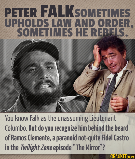 PETER FALKSOMETIMES UPHOLDS LAW AND ORDER, SOMETIMES HE REBELS. You know Falk as the unassuming Lieutenant Columbo. But do you recognize him behind th