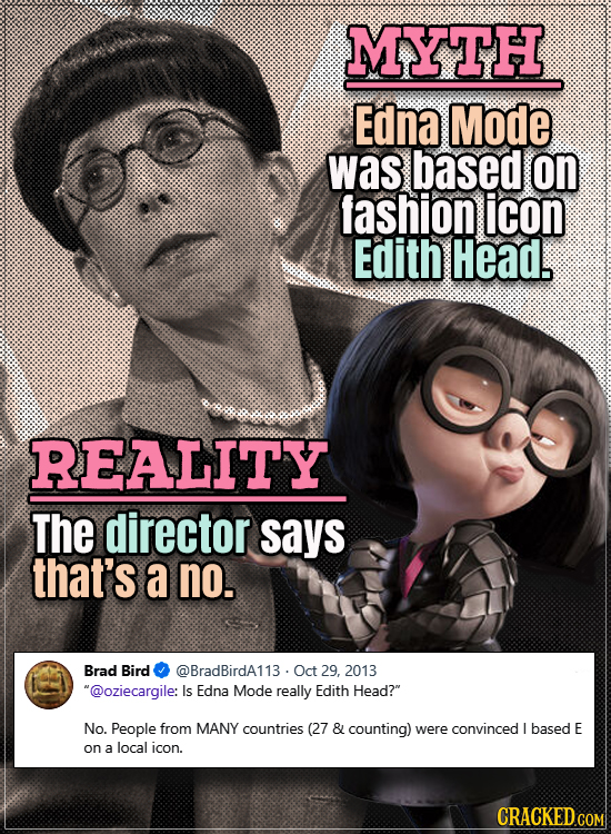 Movie Trivia Everyone Gets Wrong - Myth Edna Mode was based on fashion icon Edith Head. Reality The director says that's a no.