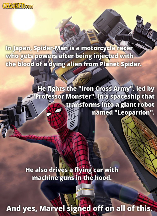 CRAGKED In Japan, Spider-Mar is a motorcycle racer who gets powers after being injected with the blood of a dying alien from Planet Spider. He fights