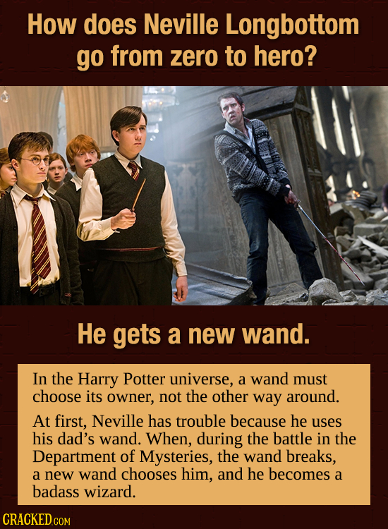 How does Neville Longbottom go from zero to hero? He gets a new wand. In the Harry Potter universe, a wand must choose its owner, not the other way ar