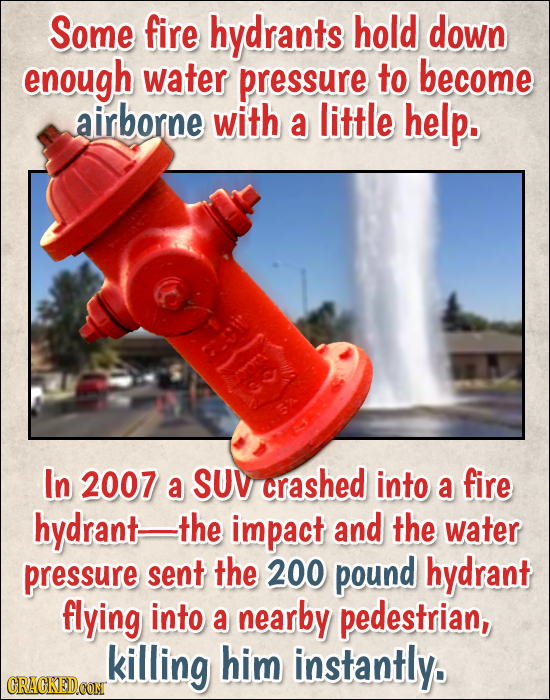 Some fire hydrants hold down enough water pressure to become airborne with a little help. In 2007 a SUV crashed into a fire hydrant- the impact and th