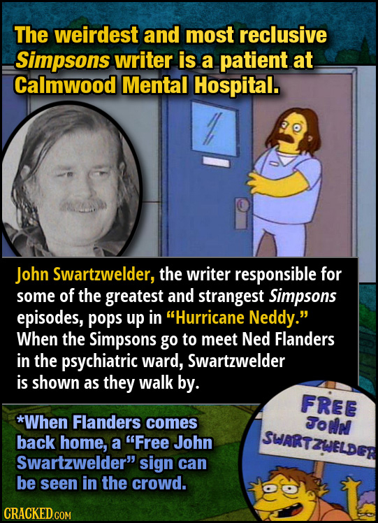 The weirdest and most reclusive Simpsons writer is a patient at Calmwood Mental Hospital. John Swartzwelder, the writer responsible for some of the gr