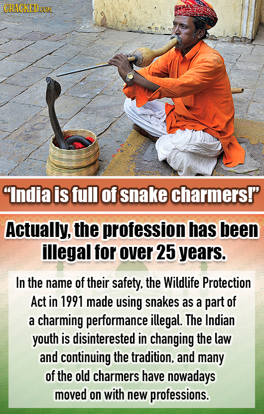 CRACKED COM India is full of snake charmers! Actually, the profession has been illegal for over 25 years. In the name of their safety. the Wildlife