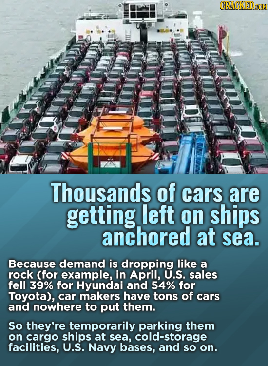 CRACKED Thousands of cars are getting left on ships anchored at sea. Because demand is dropping like a rock (for example, in April, U.S. sales fell 39