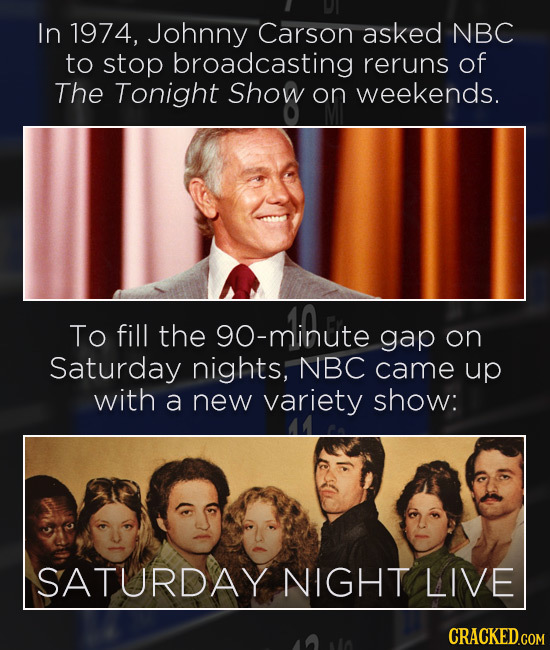 In 1974, Johnny Carson asked NBC to stop broadcasting reruns of The Tonight Show on weekends. To fill the minute gap on Saturday nights, NBC came up w