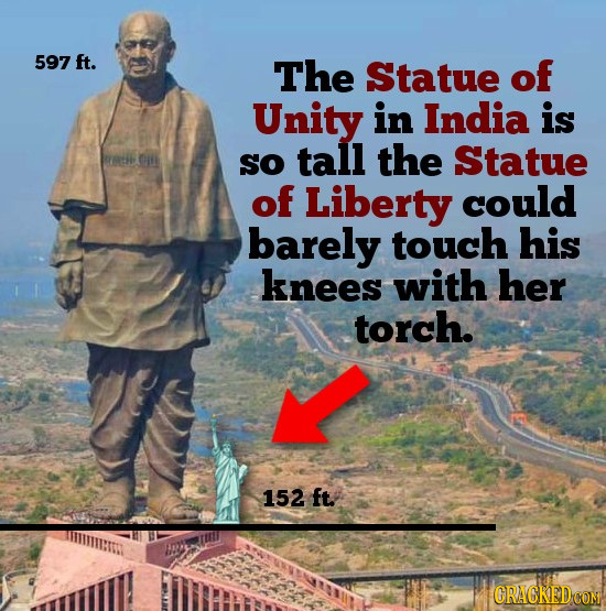 597 ft. The Statue of Unity in India is SO tall the Statue of Liberty could barely touch his knees with her torch. 152 ft