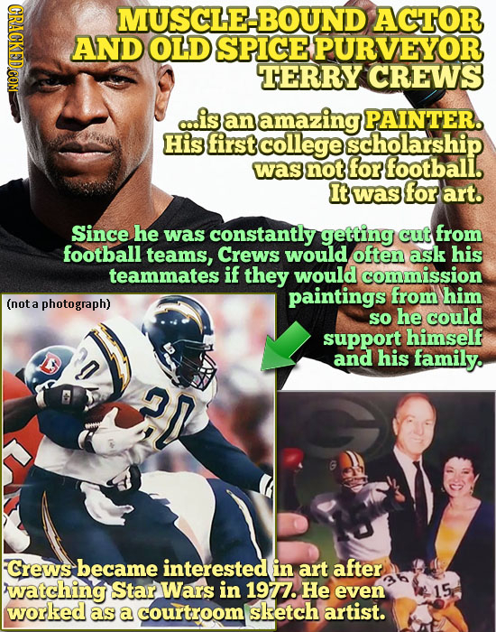 MUSCLE-BOUND ACTOR AND OLD SPICE PURVEYOR TERRY CREWS c..is an amazing PAINTER. His first college scholarship was not for footbali. It was for art. Si