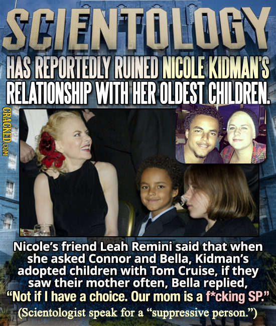 SCIENTOLOGY HAS REPORTEDLY RUINED NICOLE KIDMAN'S RELATIONSHIP WITH HER OLDEST CHILDREN, Nicole's friend Leah Remini said that when she asked Connor a