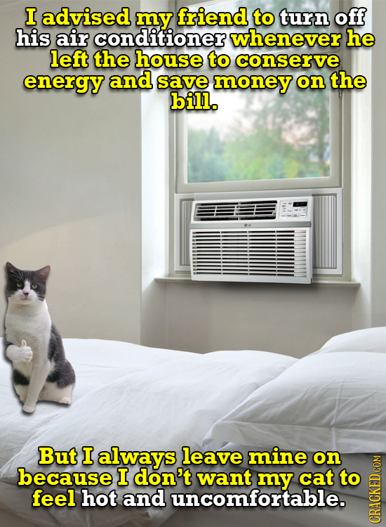 I advised my friend to turn off his air conditioner whenever he left the house to conserve energy and save money on the bill. But I always leave mine