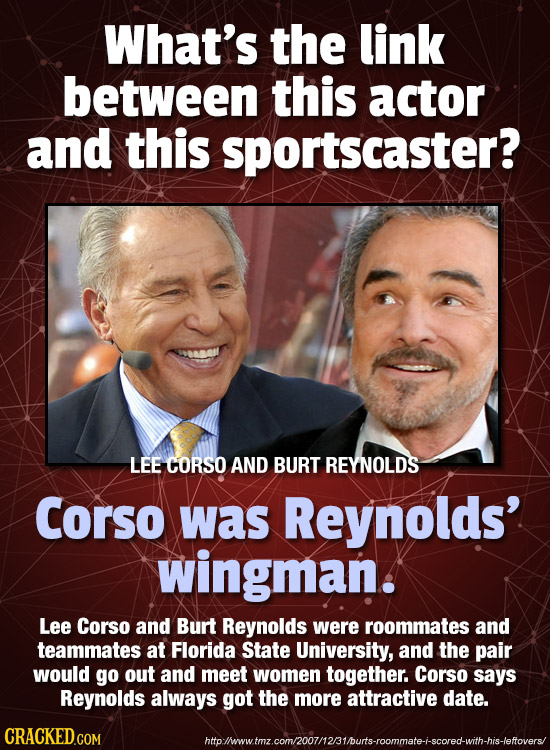 What's the link between this actor and this sportscaster? LEE CORSO AND BURT REYNOLDS Corso was Reynolds' wingman. Lee Corso and Burt Reynolds were ro