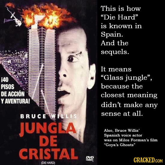 This is how Die Hard is known in Spain. And the sequels. It means i40 Glass jungle, PISOS because the DE ACCION closest meaning Y AVENTURA! didn't
