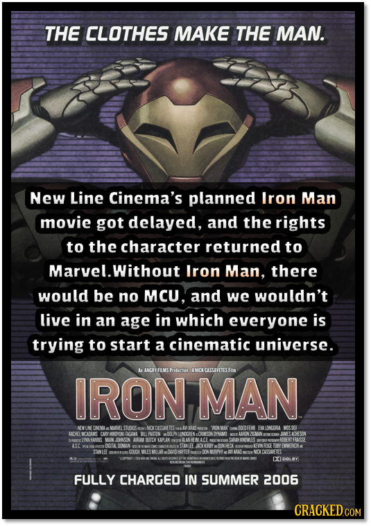 THE CLOTHES MAKE THE MAN. New Line Cinema's planned Iron Man movie got delayed, and the rights to the character returned to Marvel.Without Lron Man, t