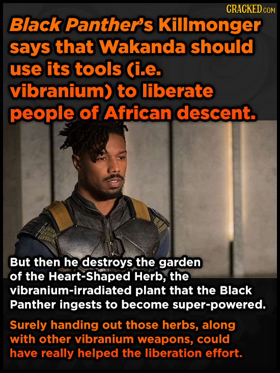 CRACKED COM Black Panther's Kilimonger says that Wakanda should use its tools (i.e. vibranium) to liberate people of African descent. But then he dest