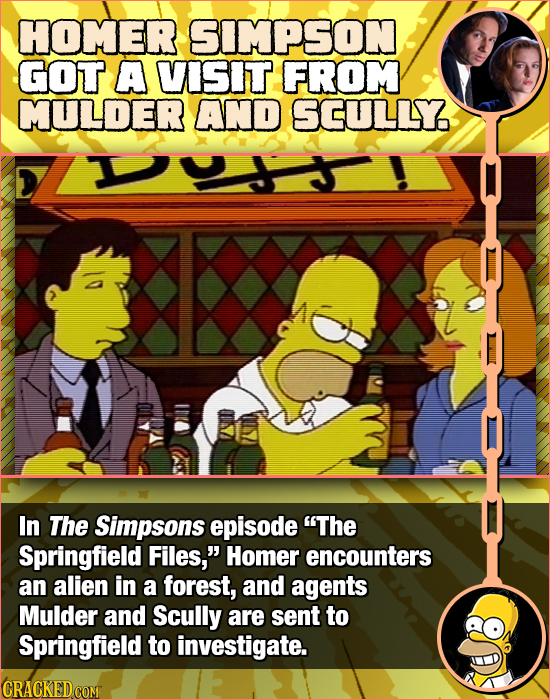 HOMER SIMPSON GOT A VISIT FROM MULDER AND SCULLY In The Simpsons episode The Springfield Files, Homer encounters an alien in a forest, and agents Mu