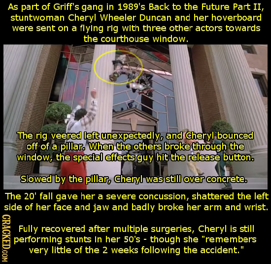 As part of Griff's gang in 1989's Back to the Future Part II, stuntwoman Cheryl Wheeler Duncan and her hoverboard were sent on a flying rlg with three