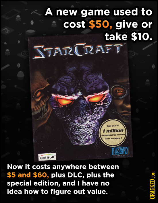 A new game used to cost $50, give or Ps take $10. TARERAFT Dea plas d' 1 million diexemplaivres wvendus dans e monnde BIZZARD Ubi Soft Now it costs an