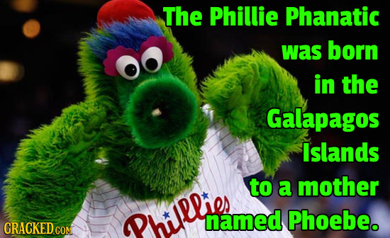 The Phillie Phanatic was born in the Galapagos Islands to a mother Philllier named Phoebe. CRACKED COM