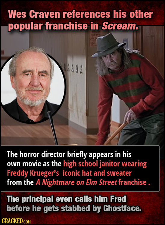 Wes Craven references his other popular franchise in Scream. The horror director briefly appears in his own movie as the high school janitor wearing F
