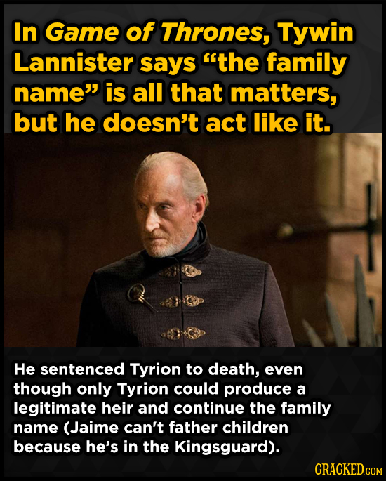 In Game of Thrones, Tywin Lannister says the family name is all that matters, but he doesn't act like it. He sentenced Tyrion to death, even though