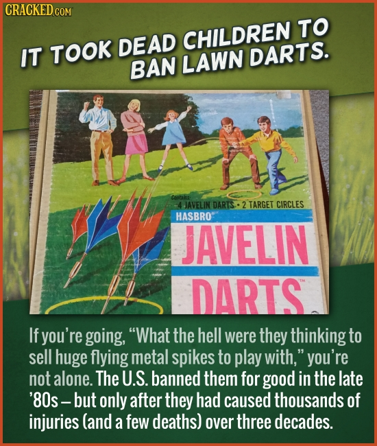CRACKED cO TO IT DEAD CHILDREN TOOK DARTS. BAN LAWN Cootais: JAVELIN DARTS- 2 TARGET CIRCLES HASBRO JAVELIN DARTS If you're going, What the hell were