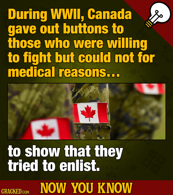 During WWll, Canada gave out buttons to those who were willing to fight but could not for medical reasons... to show that they tried to enlist. NOW YO