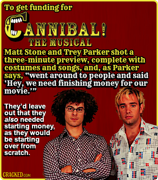 To get funding for ANNIBAL! THE MUSICAL Matt Stone and Trey Parker shot a three-minute preview, complete with costumes and songs, and, as Parker says,