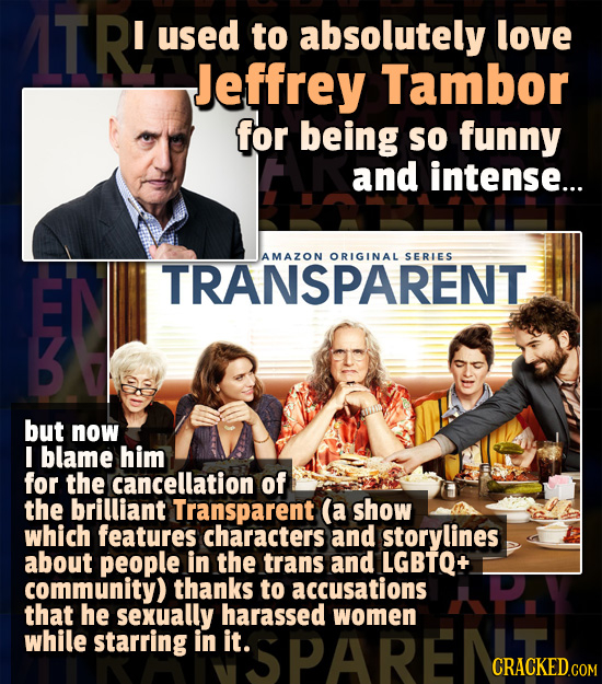 ITR! I used to absolutely love Jeffrey Tambor for being so funny and intense... AMAZON ORIGINAL SERLES TRANSPARENT but now I blame him for the cancell