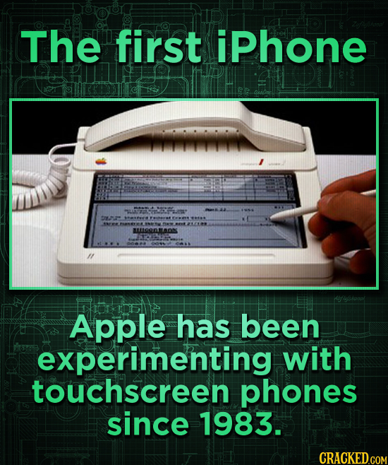 The first iphone AORNELD Apple has been experimenting with touchscreen phones since 1983.