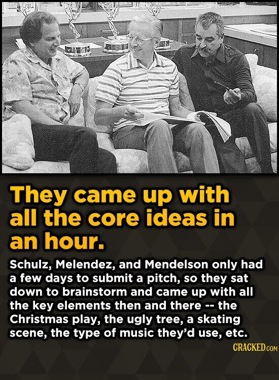 They came up with all the core ideas in an hour. Schulz, Melendez, and Mendelson only had a few days to submit a pitch, so they sat down to brainstorm