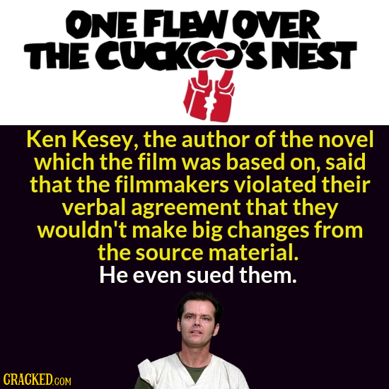 ONE FLENOVER THE CUCKCSNEST Ken Kesey, the author of the novel which the film was based on, said that the filmmakers violated their verbal agreement t