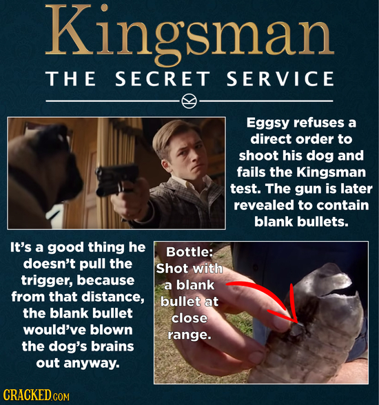 Kingsman TH E SECRET SERVICE Eggsy refuses a direct order to shoot his dog and fails the Kingsman test. The gun is later revealed to contain blank bul
