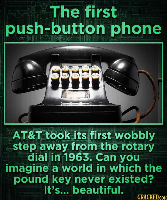 The first push-button phone JKL MNO PRO AT&T took its first wobbly step away from the rotary dial in 1963. Can you imagine a world in which the pound