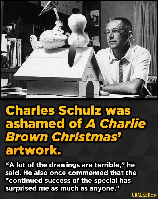 Charles Schulz was ashamed of A Charlie Brown Christmas' artwork. A lot of the drawings are terrible, he said. He also once commented that the cont