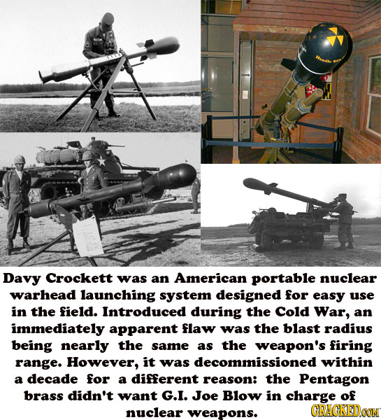 Davy Crockett was an American portable nuclear warhead launching system designed for easy use in the field. Introduced during the Cold War, an immedia