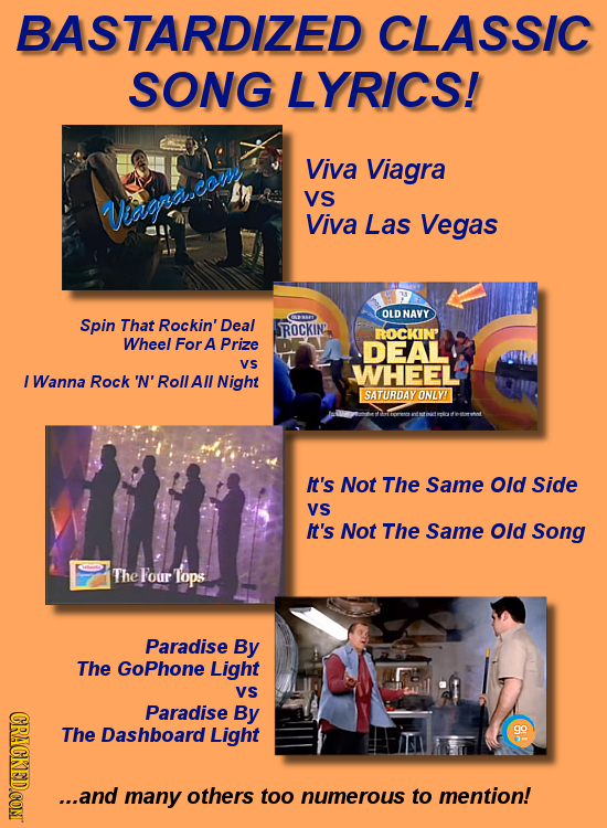 BASTARDIZED CLASSIC SONG LYRICS! Viva Viagra VS Warascony Viva Las Vegas OLDNAVY Spin That Rockin' Deal ROCKIN' ROCKIN' Wheel For A Prize DEAL Vs WHEE