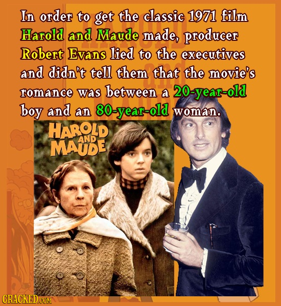 In order to get the classic 1971 film Harold and Maude made, producer Robert Evans lied to the executives and didn't tell them that the movie's romanc